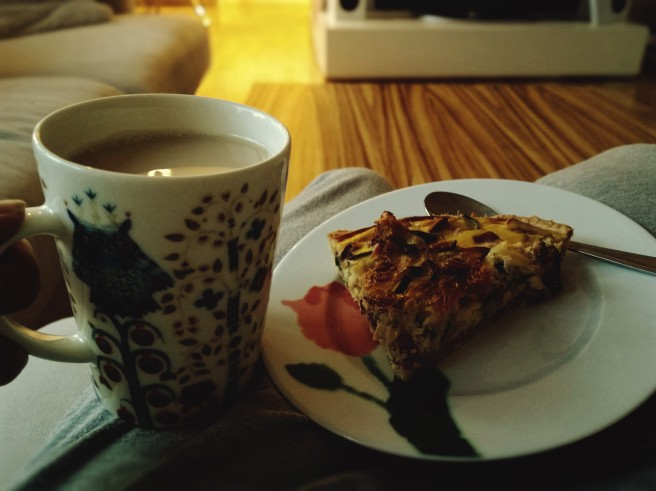 The bliss of enjoying a cup of tea and a slice of mushroom pie after hiking in the forest!